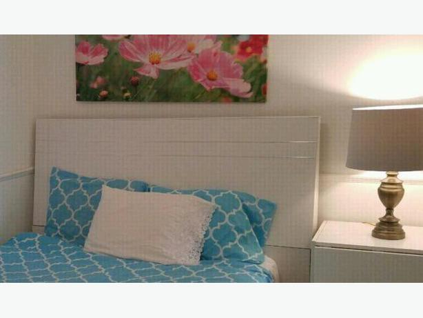Modern white queen headboard