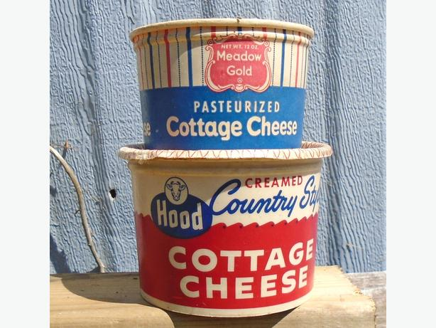 Vintage Cottage Cheese Waxed Paper Cartons - HOOD & MEADOW GOLD