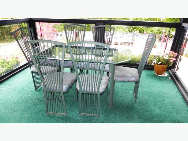 Glass top indoor outdoor steel dining table