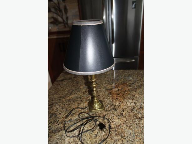 BRASS CANDLESTICK LAMP AND SHADE