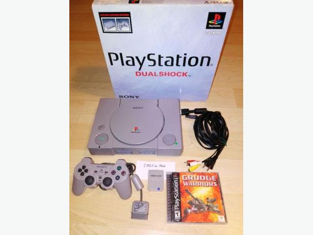Sony Playstation With Box, Controller, Mem Card & Game