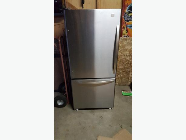 stanless kenmore fridge with bottom freezer
