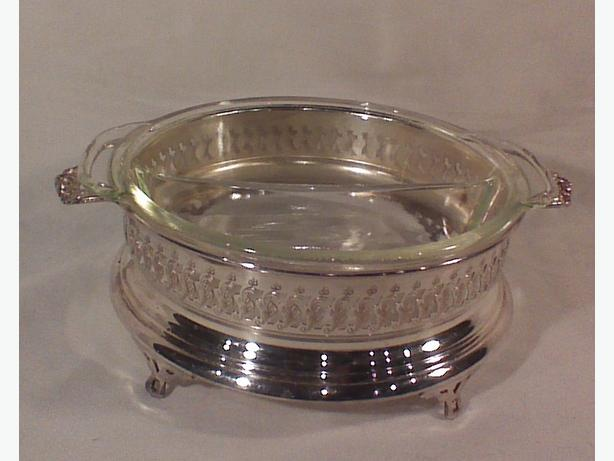 Silverplated divided glass serving dish