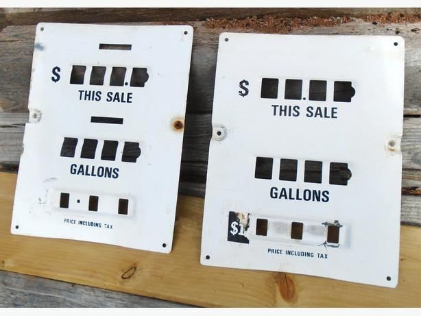 Vintage 1960's-70's Wayne Gas Pump Tin Face Plates