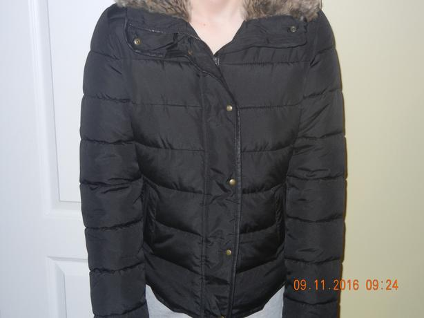 LADIES OLD NAVY FAUX- FUR TRIMMED FROST FREE JACKET BLACK SIZE X-SMALL