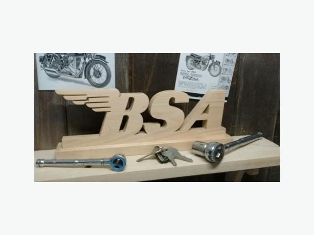 Motorcycle emblem themed wall plaques & shelf signs