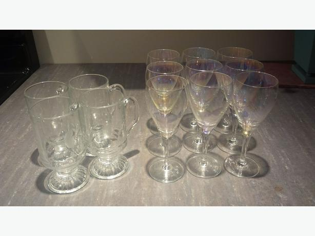 Crystal wine glasses and glass coffee mugs