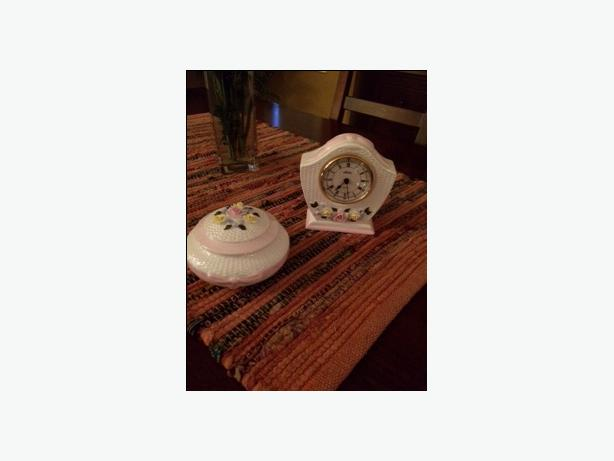 Aynsley Fine Bone China Clock and Trinket box