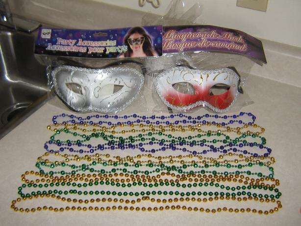 NEW - 2 MASKS & 23 BEAD NECKLACES FOR HALLOWEEN - NEVER USED