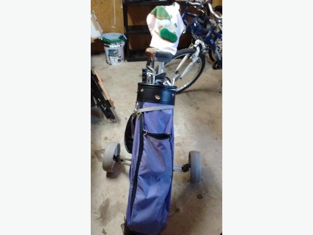 Set of golf clubs, bag, cart & umbrella