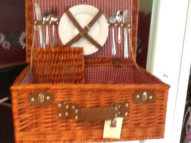 Wicker picnic baskets and accessories