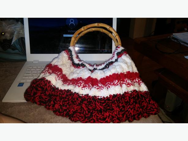 Hand made, cabble knit purses