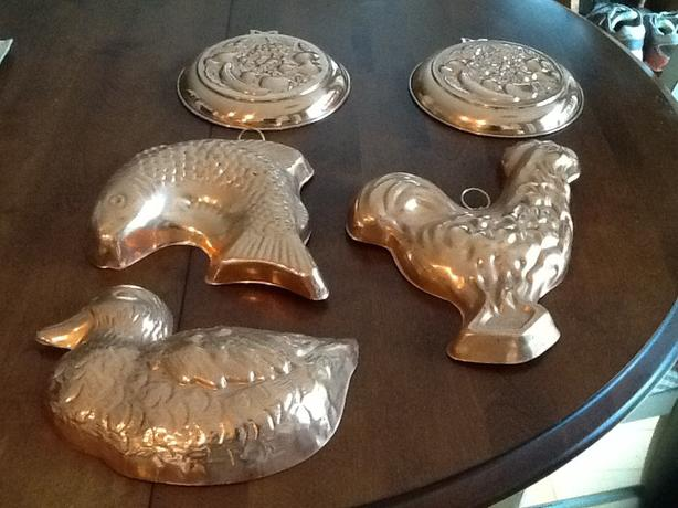 Vintage copper wall decorations or moulds