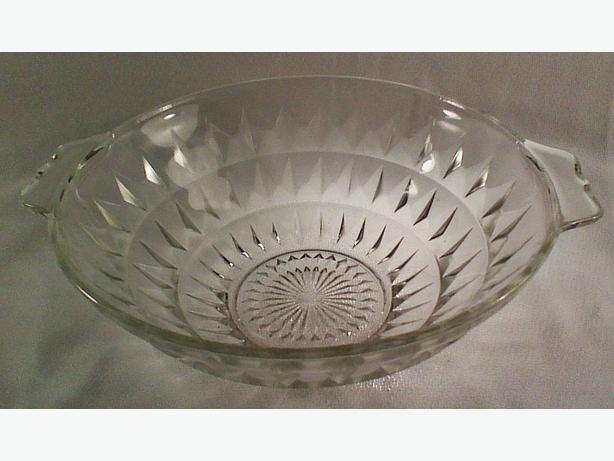 Pressed glass handled bowl