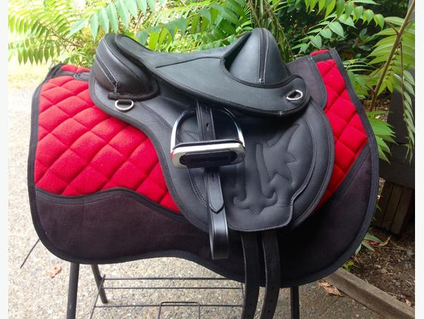 """New 13"""" leather treeless w leathers & irons"""