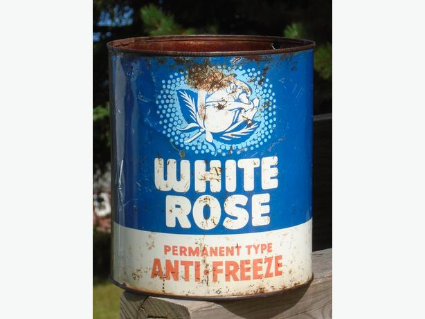 ULTRA RARE 1955's VINTAGE WHITE ROSE ANTI-FREEZE IMP GALLON CAN