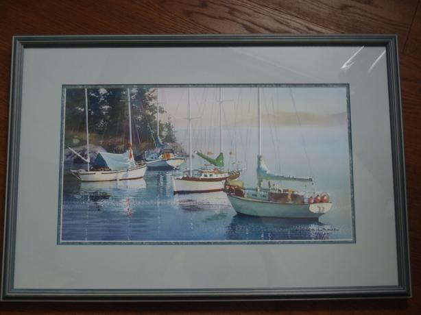 "Framed ""Sailboats"" Picture"