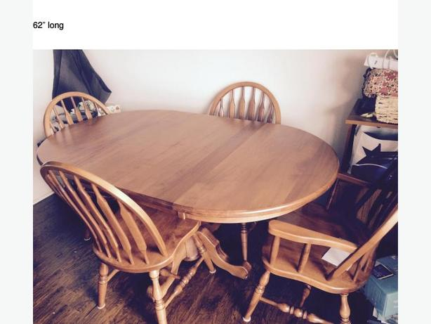 Solid Maple Dining Room Table + Chairs