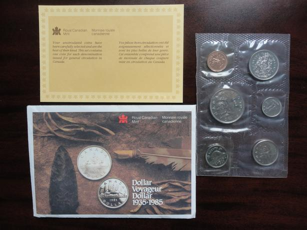 1985 Canada Proof Like 6 Coin Set, Voyageur Dollar 1935 - 1985