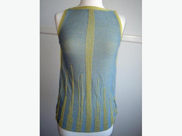 Blue Yellow Knit Tank Top / Sleeveless / Cami