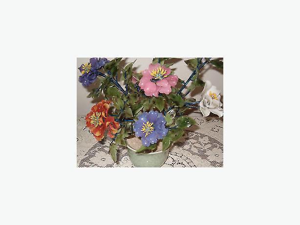 flowers- glass bouquet carved-art oriental Asian tree,