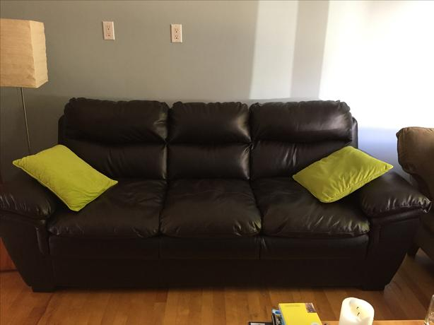 Faux leather dark brown sofa