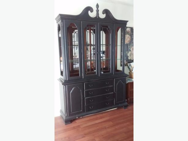 Large black buffet and hutch