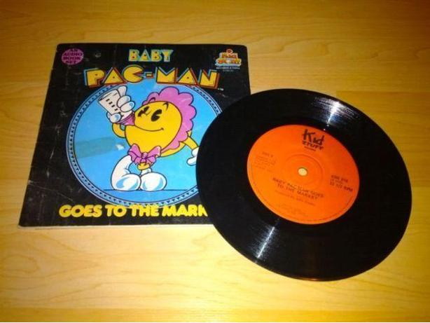 1983 Vintage Baby Pac-Man Goes To The Market Book & Record