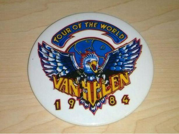 Vintage 1984 Van Halen Tour Of The World Button