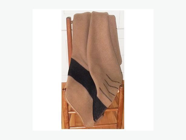 Vintage caramel coloured wool blanket with a dark brown stripe