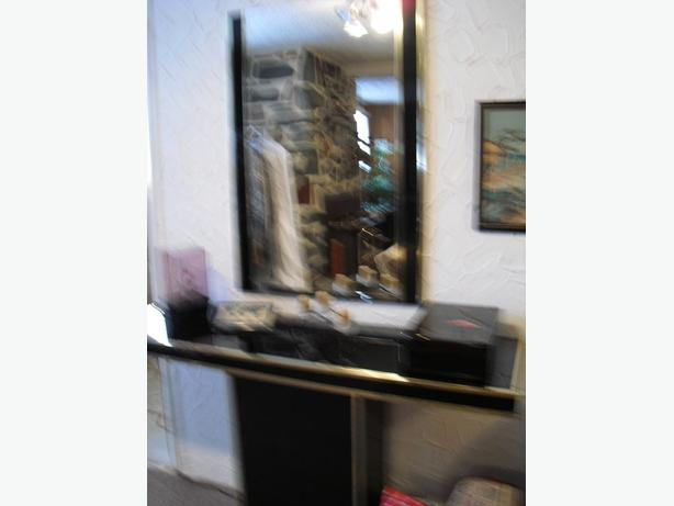 Glass console table with big mirror,