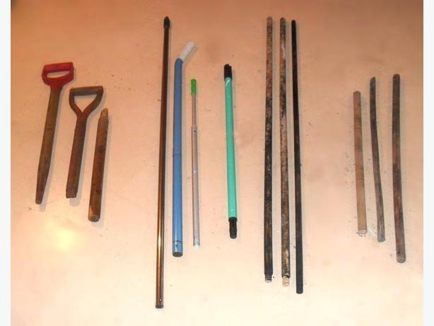 13 of Various Strong Shovel, Appliance, Mop ... etc. Handles