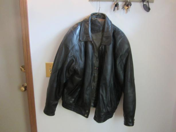 Mens winter leather jacket by Moores.
