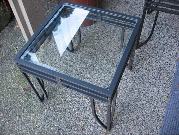 pair 2 wrought iron look glass top end tables occasional table saanich victoria. Black Bedroom Furniture Sets. Home Design Ideas