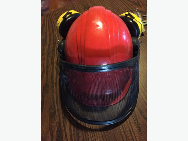 cutters hard hat with hearing and face protection