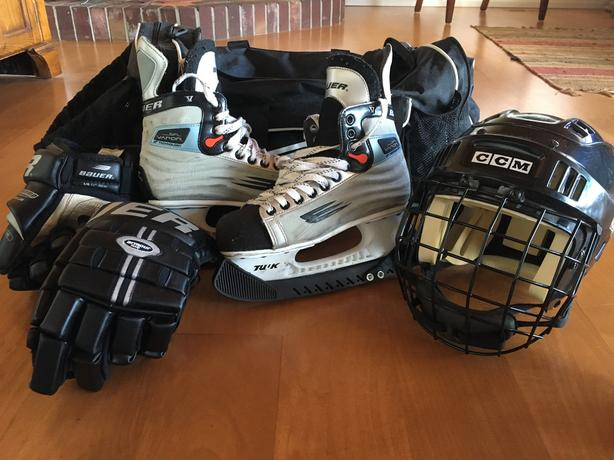 hockey skates, gloves and helmet