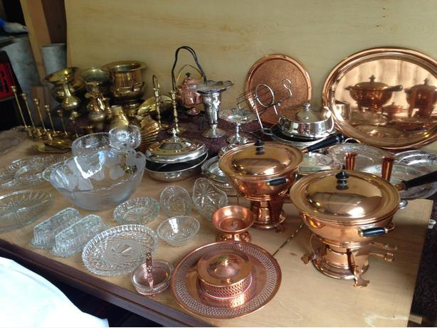 COPPER,CRYSTAL, BRASS, SILVER, MAPLE FURNITURE