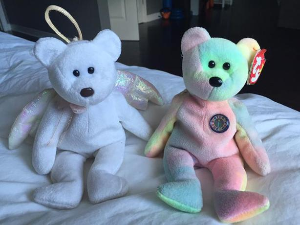 Halo and Birthday Bear Beanie Babies