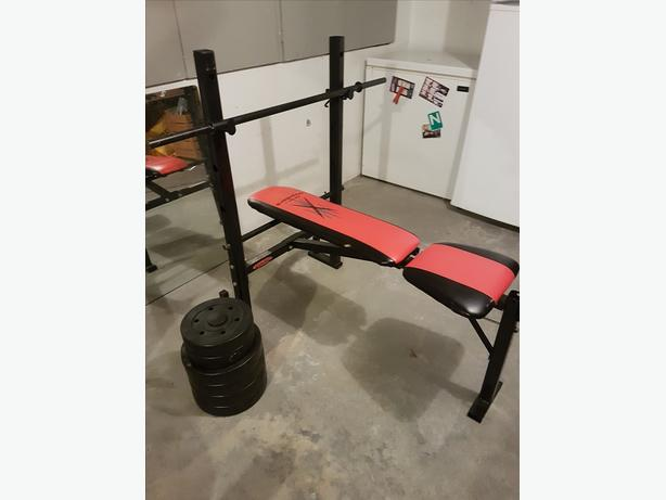 Weights, Bench, Medicine ball