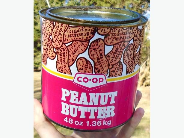Vintage 1975's CO-OP Peanut Butter Tin w/ Peanut Graphics