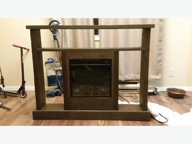 Solid Wood stand with electric fireplace.
