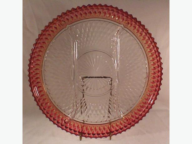 Indiana Diamond Point Ruby Flash divided tray