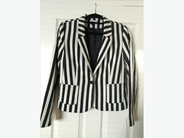 Woman's black and white stripe blazer