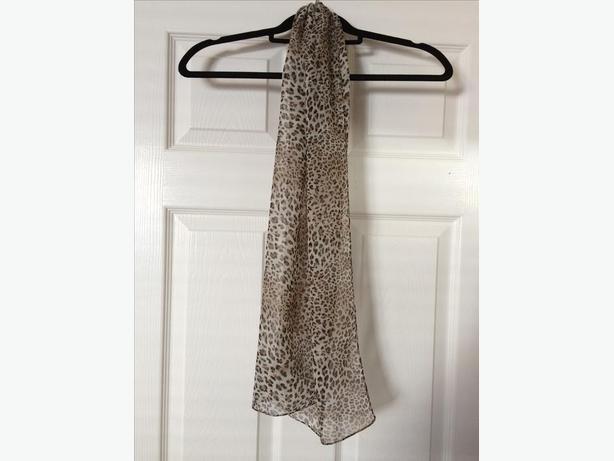 Sheer leopard print scarf