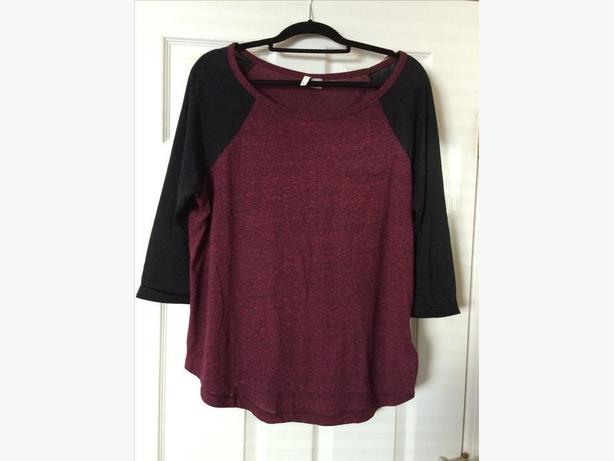 Woman's plum and black shirt