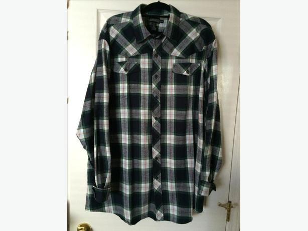 Men's green and navy check shirt