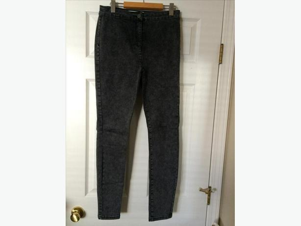 Woman's grey super soft high waisted skinny jeans