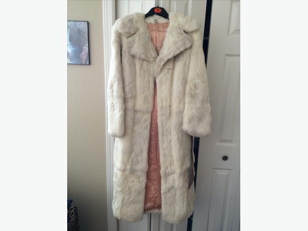 Woman's snow tipped rabbit fur full length coat