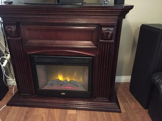 dark wood electric fireplace