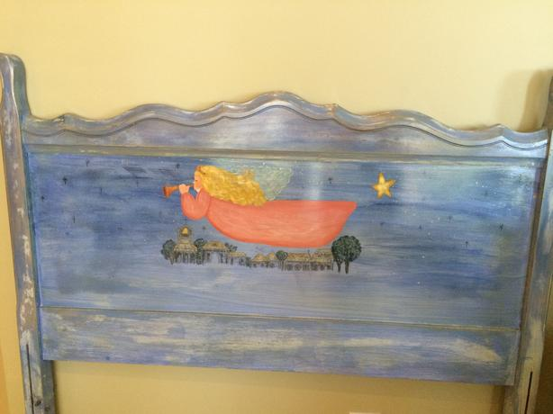 Hand painted angel single bed headboard